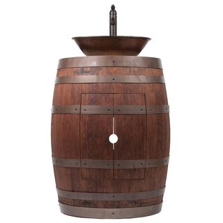 Premier Copper Products Wine Barrel Whiskey Finish Vanity Package with 17-inch Oval Wired Rim Vessel Sink and Faucet