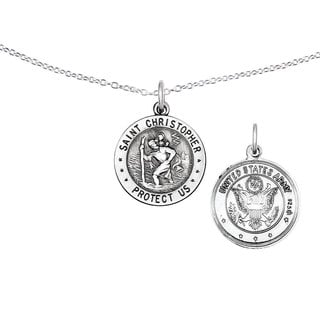 Versil Sterling Silver St.Christopher US Army Medal