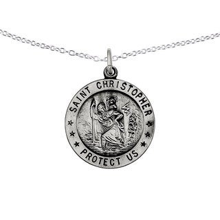 Versil Sterling Silver St. Christopher Medal with 18 inch Cable Chain