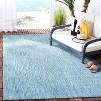 Safavieh Indoor/ Outdoor Courtyard Aqua/ Aqua Rug (5' 3 x 7' 7)