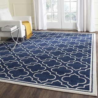 Safavieh Indoor/ Outdoor Amherst Navy/ Ivory Rug (10' x 14')