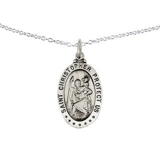 Versil Sterling Silver St. Christopher Medal Pendant on Chain