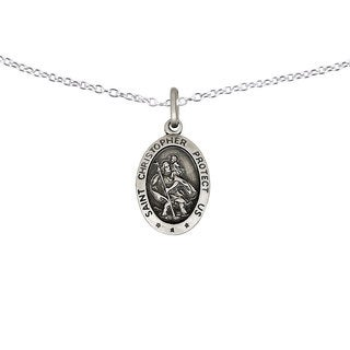 Versil Sterling Silver St.Christopher Medal Necklace
