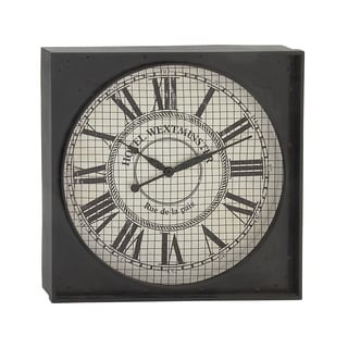 Square Metal Rustic Look Wall Clock