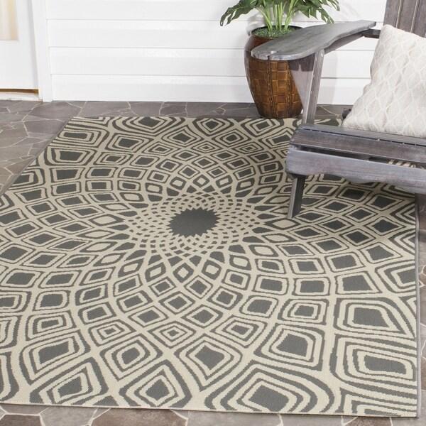 Safavieh Courtyard Optic Anthracite/ Beige Indoor/ Outdoor Rug (8' x 11')