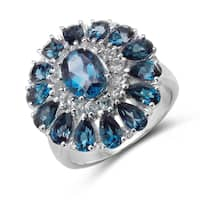 Malaika 5.44 Carat Genuine London Blue Topaz and White Topaz .925 Sterling Silver Ring
