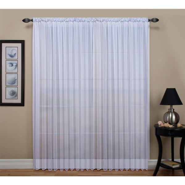 Wide tailored rod pocket curtain panel with weighted corded bottom hem