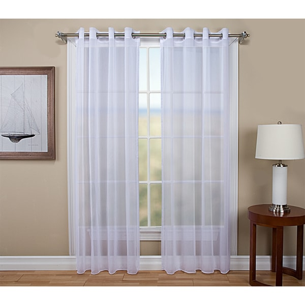 Tergaline Grommet Tailored Semi Sheer Curtain Panel With Weighted Corded  Bottom Hem
