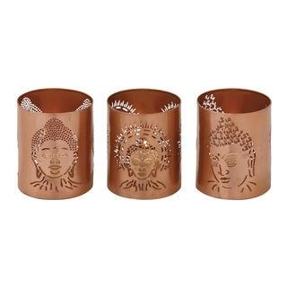 Brown Metal Buddha Votive Holders (Set of 3)