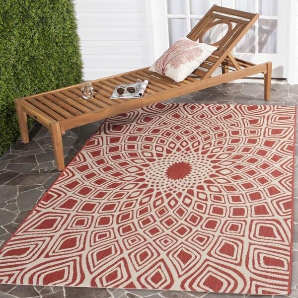 Safavieh Courtyard Optic Red/ Beige Indoor/ Outdoor Rug - 8' x 11'