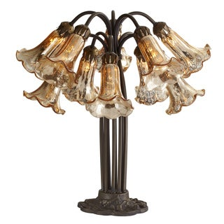 21-inch Gold Mercury Glass 10-lily Downlight Table Lamp