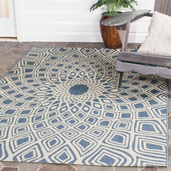 Safavieh Courtyard Optic Blue/ Beige Indoor/ Outdoor Rug - 9' x 12'
