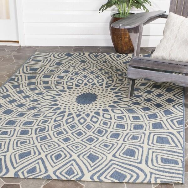 Safavieh Courtyard Optic Blue/ Beige Indoor/ Outdoor Rug (9' x 12')