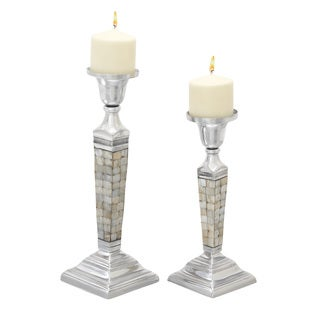 Metal Inlay Candle Holders (Set of 2)