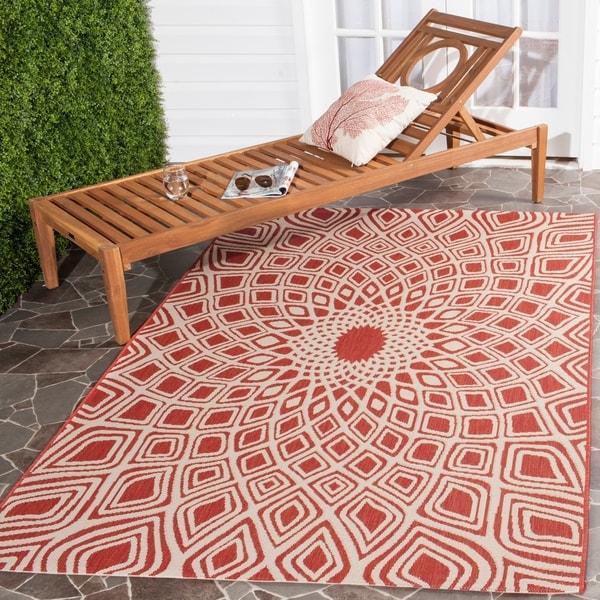 Safavieh Courtyard Optic Red/ Beige Indoor/ Outdoor Rug - 9' x 12'