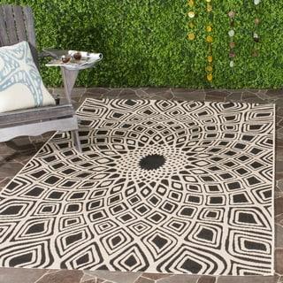 Safavieh Courtyard Optic Black/ Beige Indoor/ Outdoor Rug (8' x 11')