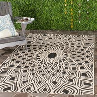 Safavieh Courtyard Optic Black/ Beige Indoor/ Outdoor Rug (8' x 11')