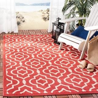 Safavieh Indoor/ Outdoor Courtyard Red/ Bone Rug (9' x 12')