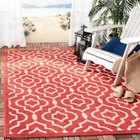 Safavieh Indoor/ Outdoor Courtyard Red/ Bone Rug - 9' x 12'
