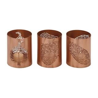 Brown Metal Leaf Votive Holders (Set of 3)