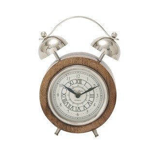 Wood Stainless Steel Table Clock