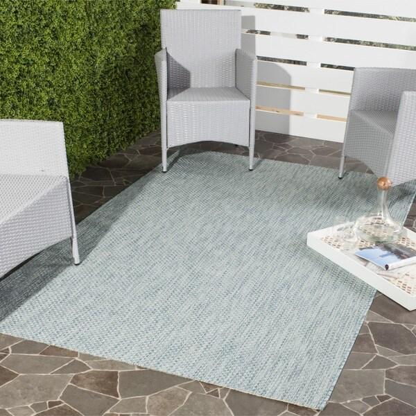 Safavieh Indoor/ Outdoor Courtyard Aqua/ Grey Rug (8' x 11')