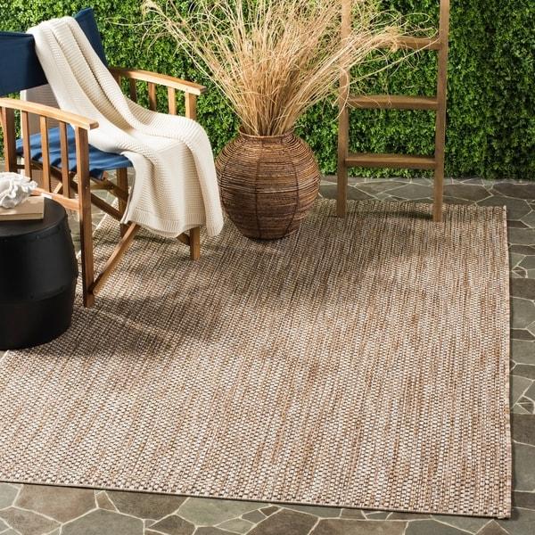 Safavieh Indoor/ Outdoor Courtyard Natural/ Black Rug - 9' x 12'