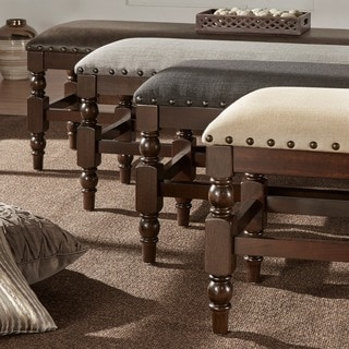 TRIBECCA HOME Flatiron Burnished Dark Oak Nailhead Trim Bench