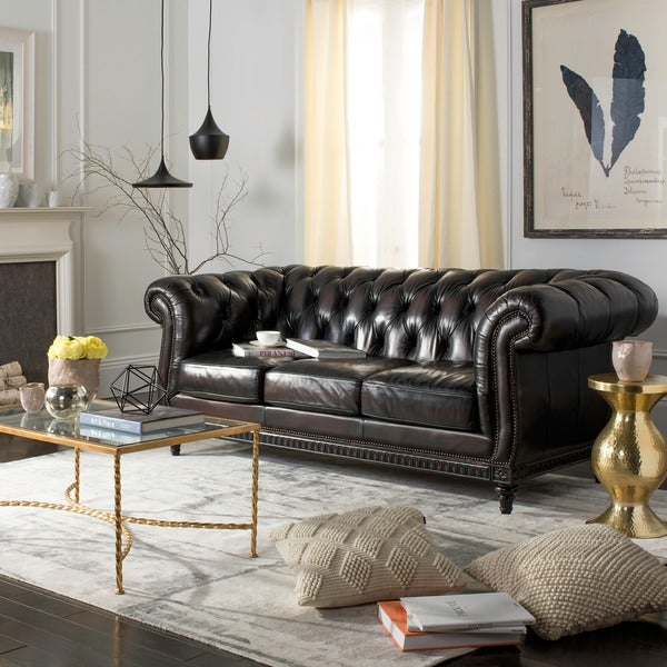 d2055d42a7a5 Safavieh Couture High Line Collection Westminster Chesterfield Leather  Bordeaux Sofa