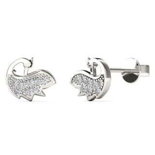 10k White Gold Diamond Accent Peacock Stud Earrings (H-I, I1-I2)