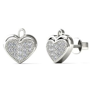 AALILLY 10k White Gold Diamond Accent Heart Leaf Stud Earrings (H-I, I1-I2)