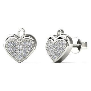 10k White Gold Diamond Accent Heart Leaf Stud Earrings (H-I, I1-I2)