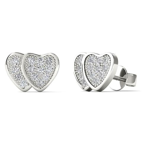 AALILLY 10k White Gold Diamond Accent Double Heart Stud Earrings
