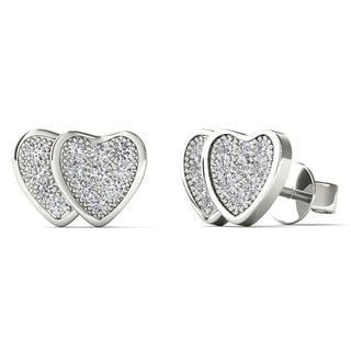AALILLY 10k White Gold Diamond Accent Double Heart Stud Earrings (H-I, I1-I2)