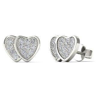 10k White Gold Diamond Accent Double Heart Stud Earrings (H-I, I1-I2)