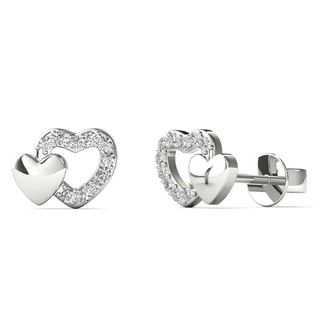 10k White Gold Diamond Accent Open Heart Stud Earrings (H-I, I1-I2)
