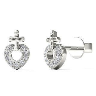 AALILLY 10k White Gold Diamond Accent Fashion Stud Earrings (H-I, I1-I2)