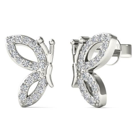 AALILLY 10k White Gold 1/6ct TDW Diamond Half Wing Butterfly Stud Earrings (H-I, I1-I2)