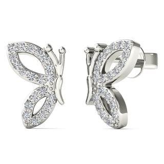 10k White Gold 1/8ct TDW Diamond Open Half Butterfly Wing Stud Earrings (H-I, I1-I2)