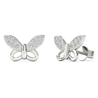 10k White Gold Diamond Accent Butterfly Stud Earrings (H-I, I1-I2)