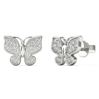10k White Gold 1/10ct TDW Diamond Butterfly Stud Earrings (H-I, I1-I2)