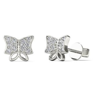 10k White Gold Diamond Accent Butterfly Fashion Stud Earrings (H-I, I1-I2)