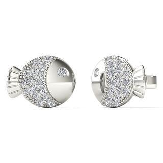 10k White Gold 1/10ct TDW Diamond Bubble Fish Stud Earrings (H-I, I1-I2)