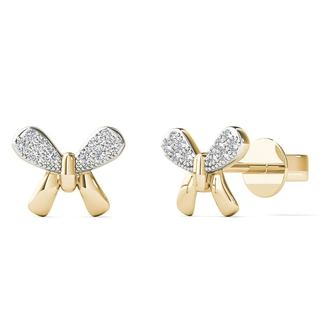10k Yellow Gold Diamond Accents Butterfly Stud Earrings (H-I, I1-I2)