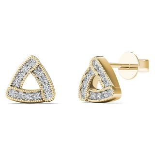 AALILLY 10k Yellow Gold 1/10ct TDW Diamond Curved Triangle frame Stud Earrings