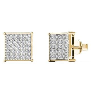 AALILLY 10k Yellow Gold 1/6ct TDW Diamond Square Shape Stud Earrings
