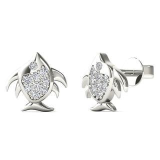 10k White Gold Diamond Accent Angel Fish Stud Earrings (H-I, I1-I2)