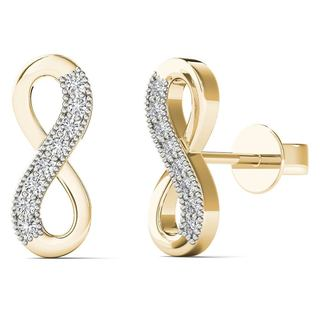 AALILLY 10k Yellow Gold Diamond Accents Infinity Stud Earrings (H-I, I1-I2)