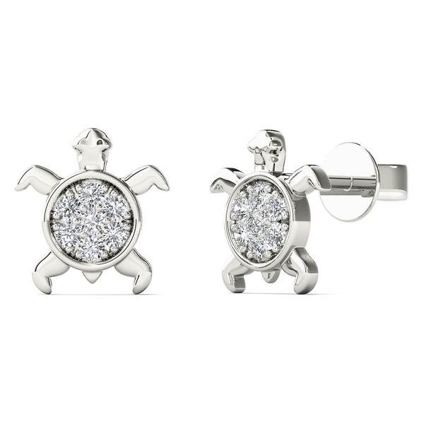 Aalilly 10k White Gold Diamond Accent Sea Turtle Stud Earrings H I I1 I2