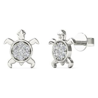 10k White Gold Diamond Accent Sea Turtle Stud Earrings (H-I, I1-I2)